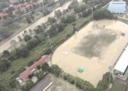 Immagine di una piccola area di Parma colpita  dall'alluvione (ph.ilmeteo.it)