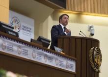 L'intervento del presidente del Consiglio Matteo Renzi alla Conferenza Onu per il finanziamento allo Sviluppo, Addis Abeba (Etiopia), 14 luglio 2015. ANSA/ PALAZZO CHIGI - TIBERIO BARCHIELLI   +++ ANSA PROVIDES ACCESS TO THIS HANDOUT PHOTO TO BE USED SOLELY TO ILLUSTRATE NEWS REPORTING OR COMMENTARY ON THE FACTS OR EVENTS DEPICTED IN THIS IMAGE; NO ARCHIVING; NO LICENSING +++