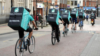 EDITORIAL USE ONLY A team of Deliveroo riders named after Leicester City FC players sets off from Peter Pizzeria in Leicester to deliver freebies to football fans in celebration of the club winning the Barclays Premier League, ahead of the team lifting the trophy this weekend. PRESS ASSOCIATION Photo. Issue date: Wednesday May 4, 2016. Peter Pizzeria hit headlines earlier this year when Foxes manager Claudio Ranieri kept his promise to buy pizzas for the team if they kept a clean sheet, something they achieved against Crystal Palace. Photo credit should read: Rui Vieira/PA Wire